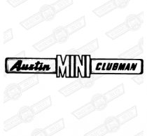 BADGE-BOOT LID-'AUSTIN MINI CLUBMAN'-'69-'75 EXPORT