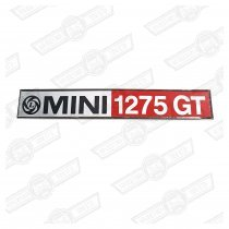 BADGE-BOOT LID-'MINI 1275GT'-RED/BLACK-'77 ON