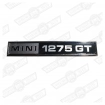BADGE-BOOT LID'MINI 1275GT'-BLACK/SILVER-'69-'75