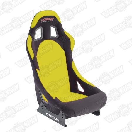 CORBEAU FORZA SPORT SEAT-BLACK OUTER, YELLOW INNER, CLOTH
