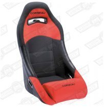 CORBEAU NEW CLUBMAN SEAT- BLACK OUTER/RED INNER, CLOTH