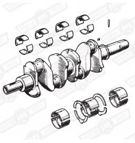 CRANKSHAFT & BRGS OIL FED BUSH 1 3/8'' DIA. TAIL 997cc 61-62