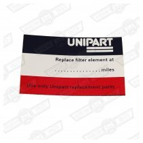 DECAL-AIR FILTER-'UNIPART'-'76-'92