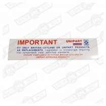 DECAL-BRITISH LEYLAND AND UNIPART PRODUCTS-'73-'76