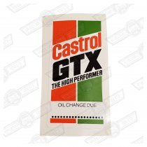 DECAL-'CASTROL GTX OIL CHANGE DUE'