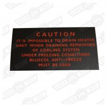DECAL-HEATER DRAIN CAUTION-'66-'76