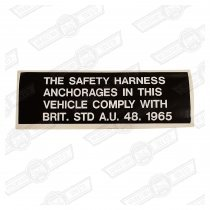 DECAL-SAFETY HARNESS ANCHORAGES COMPLIANCE-'80 ON