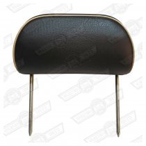 HEADREST-TWIN STALK SPI BLACK LEATHER/CREAM PIPING