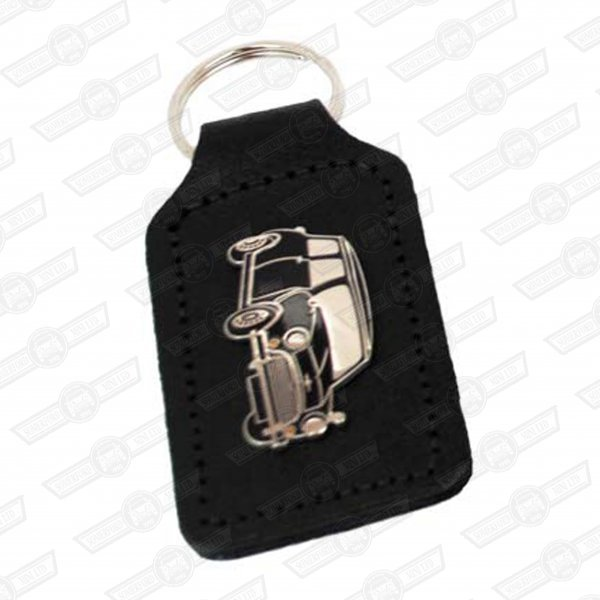 KEY FOB- BLACK LEATHER WITH BLACK MINI BADGE