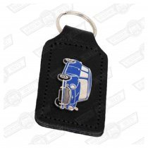 KEY FOB- BLACK LEATHER WITH BLUE MINI BADGE