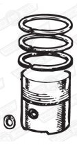 PISTON SET-DISHED-3 RINGS 8.3:1 CR +020'' 998cc '84-'88