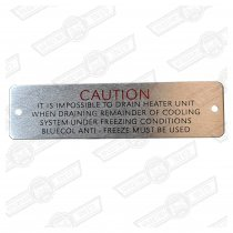 PLATE-HEATER DRAIN CAUTION-'59-'66