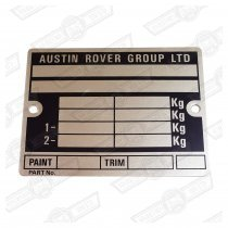 PLATE-VIN 'AUSTIN ROVER GROUP LTD'