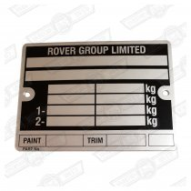 PLATE-VIN-'ROVER GROUP'-'88-'99