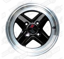 REVOLUTION 4 SPOKE 5 x 12 SILVER RIM, BLACK SPOKES