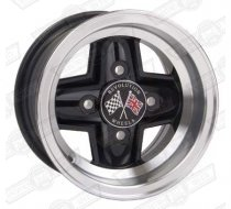 REVOLUTION 4 SPOKE 6 x 10 SILVER RIM, BLACK SPOKES