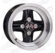 REVOLUTION 4 SPOKE 6 x 12 SILVER RIM, BLACK SPOKES