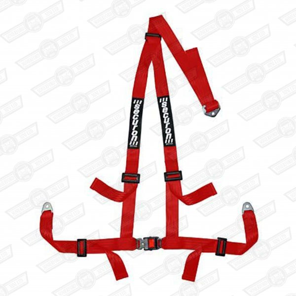 SECURON HARNESS QUICK RELEASE BUCKLE 3 PT BOLT-IN RED