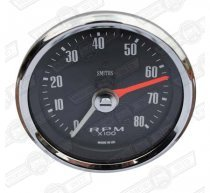 SMITHS REV COUNTER- 80mm BLACK FACE 0-8,000 RPM