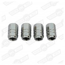 TYRE VALVE CAP-SILVER ANODISED SET OF 4